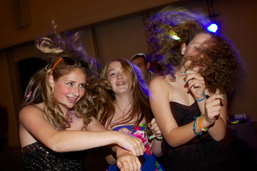 disco dancing bat mitzvah girls hair toss