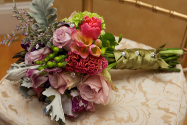 unusual bouquet with jeweled ribbon wrap