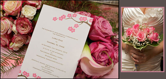 rose bouquet with bride and invitation