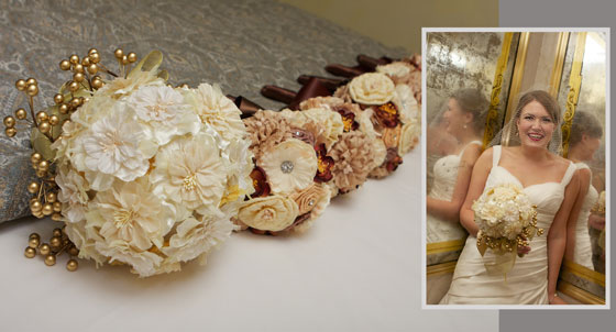handmade silk bouquets with bridal portrait