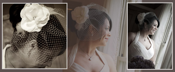 wedding bride birdcage veil
