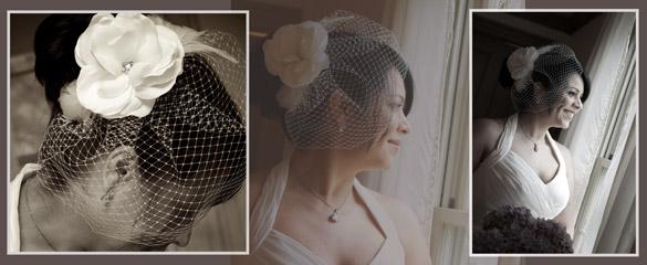 wedding bride birdcage veil